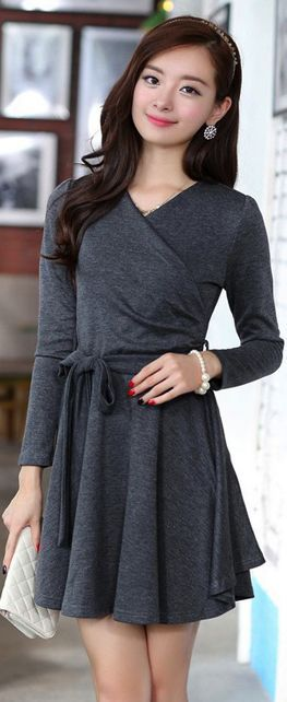 Stylish grey dress - we can wear this at our office.