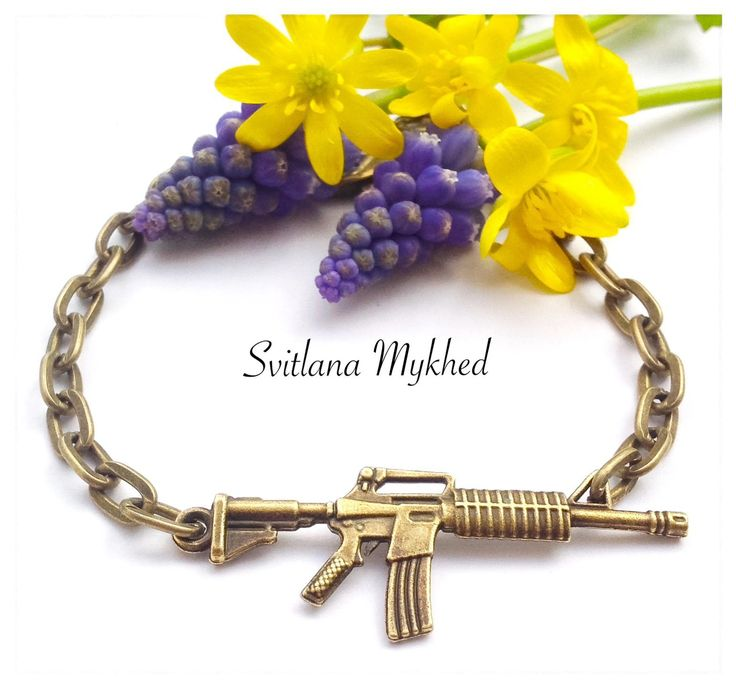 """Bracelet chaine réglable """"Fusil Américain M16. Fusil d'assaut Kalachnikov. Arme…"""