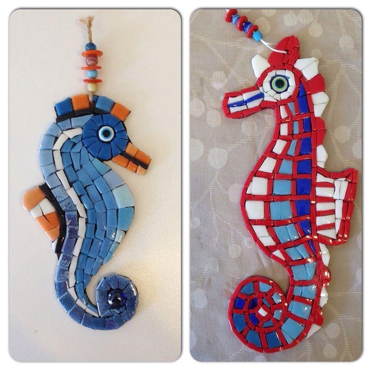 Handmade mosaic seahorses  El yapımı mozaik denizatları  www.arassta.com