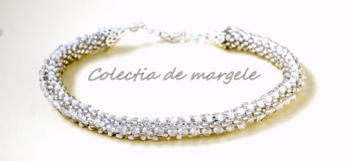 Let it snow - corchet beading necklace www.colectiademargele.ro