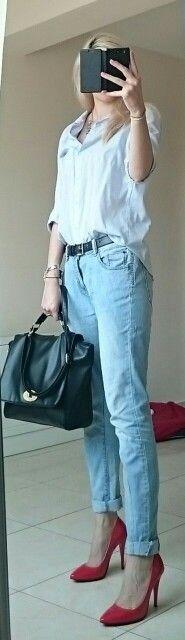 #red #stilettoes, #boyfriend #jeans, #boyfriend #shirt, #statement #necklace, #black #office #bag