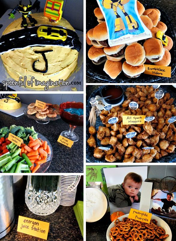 Ideas for how to have Autobot #transformer themed food for a birthday party. (Link has a game and party favor as well)