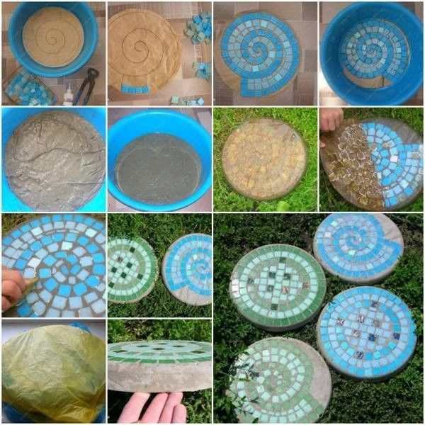 do you want to add a sweet touch to your backyard with some handmade garden crafts here is a nice diy project to make beautiful mosaic tile garden stepping - Concrete Tile Garden Decor