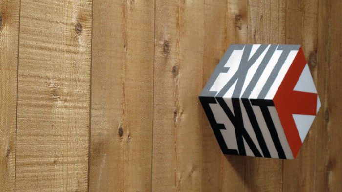"""3d Signage/a sign that says """"The Cube"""" to cover the hole in the wall. Maybe it could be a light?"""