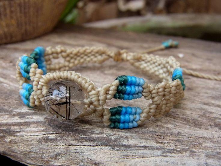 Macrame Bracelet Wristband Black Rutilated Quartz Gemstone Handmade Handcrafted #Handmade