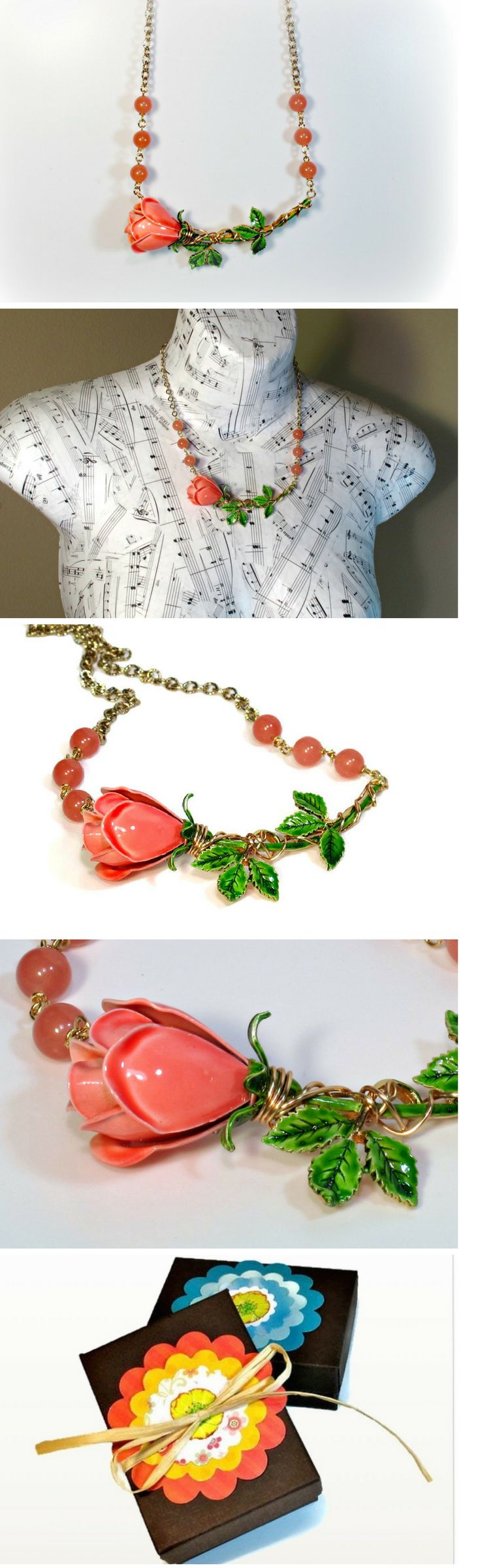 Repurposed vintage flower necklace featuring a vintage pink coral flower, CLICK to see one-of-a-kind statement necklace-> https://www.etsy.com/listing/245472674/upcycled-recycled-repurposed-flower