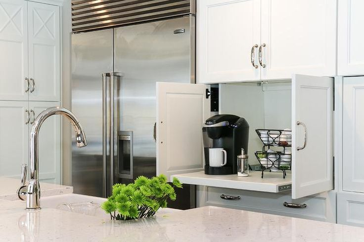 The coffee station can be hidden inside your kitchen cupboards. Description from homedit.com. I searched for this on bing.com/images