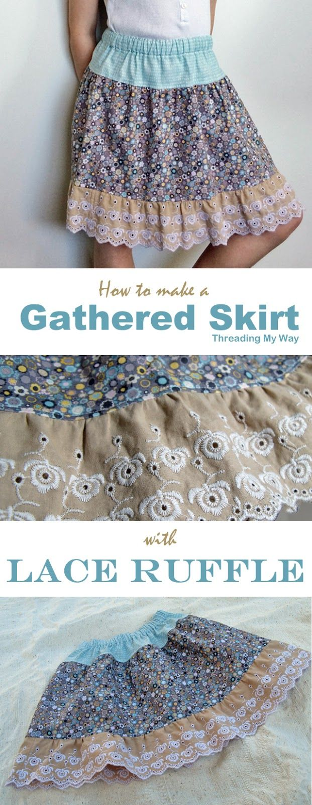 Learn how to make a gathered cotton and lace ruffle skirt for girls aged 2 - 5. Tutorial by Threading My Way
