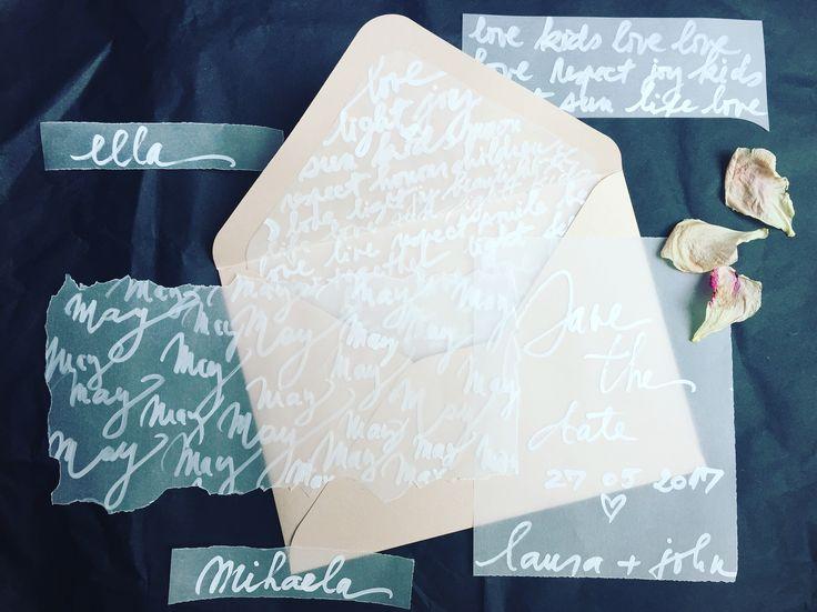 Vellum and dust pink wedding invitation