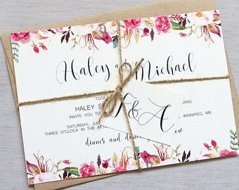 Boho Floral Wedding Invitation. Rustic Wedding Invitation. Bohemian Wedding Invitation. Romantic Wedding Invitation. Elegant Wedding. The perfect mix of rustic, boho and elegance! The modern text invitation is printed on rustic kraft paper and then layered on off white, hand distressed pocket, wrapped with twine and tied with tag.  Coordinating items such as programs, place cards, menus and more also available.  -------- WHAT IS INCLUDED --------  Package includes: FULLY ASSEMBLED AND DESIGN…
