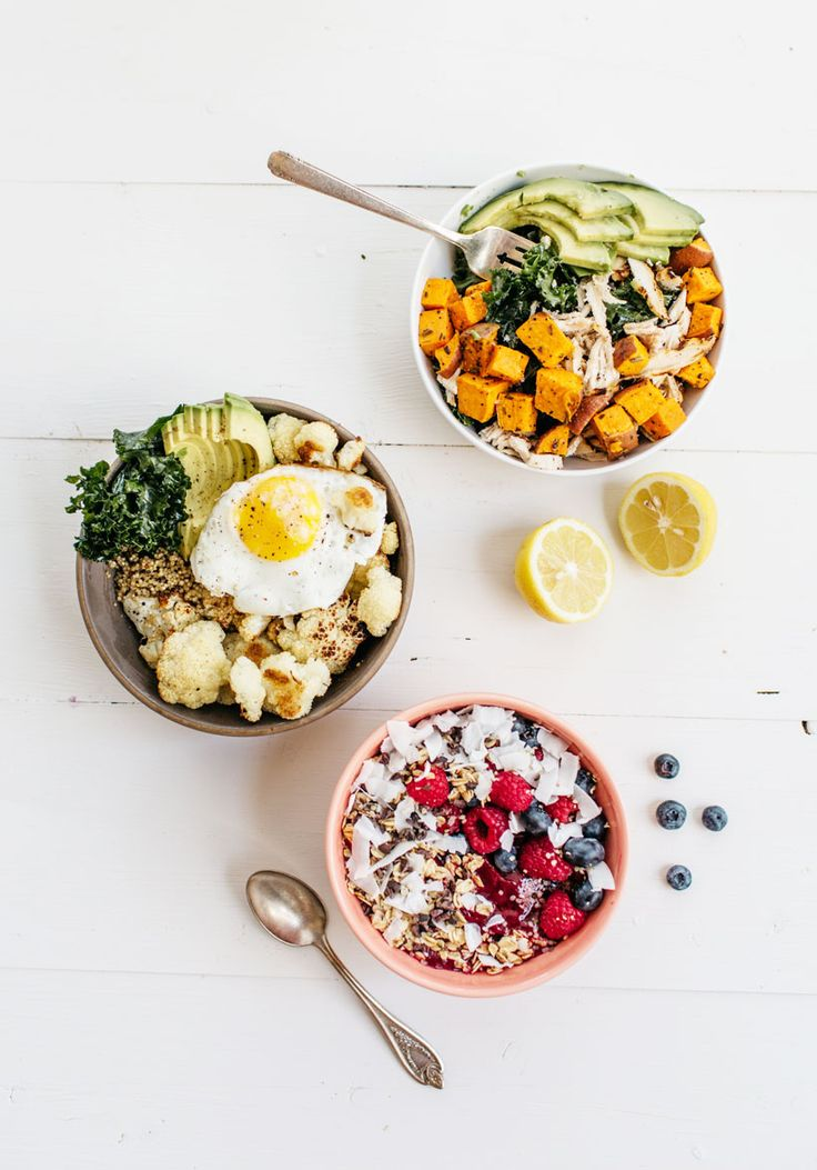 a power bowl recipe for breakfast, lunch and dinner! (the breakfast acai bowl, the quinoa power bowl, and the green & protein bowl.)