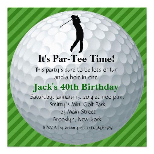 Golf Themed Birthday Invitation