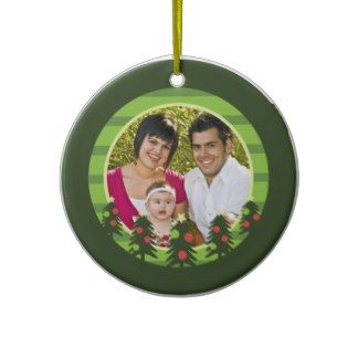 Merry Christmas Trees Photo Ornament