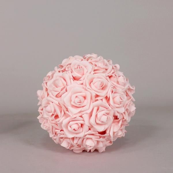 Foam rose kissing ball in pink vase arrangements diy