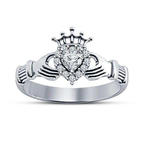 Heart Shaped White Diamond 14k White Gold Finish Claddagh Engagement Ring…