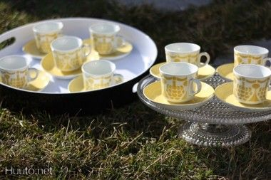 ARABIA BR, Göran Bäck, keltaiset MARJA kahvikupit