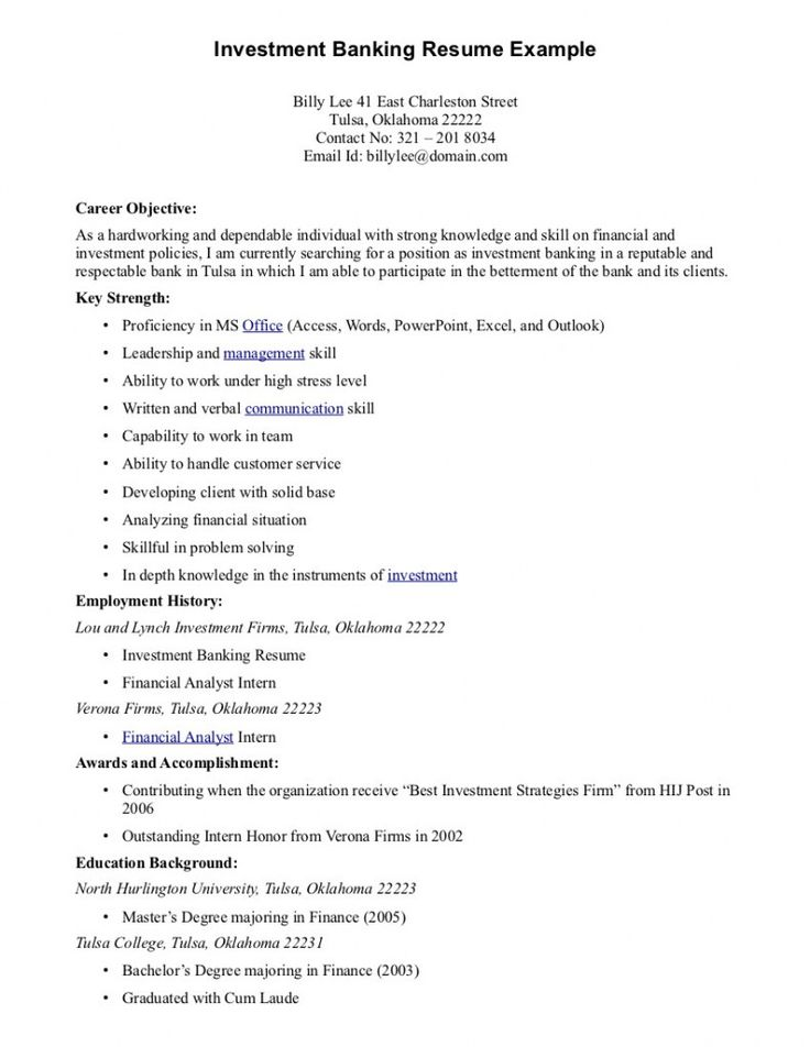 Banking Resume Format  Resume Format And Resume Maker