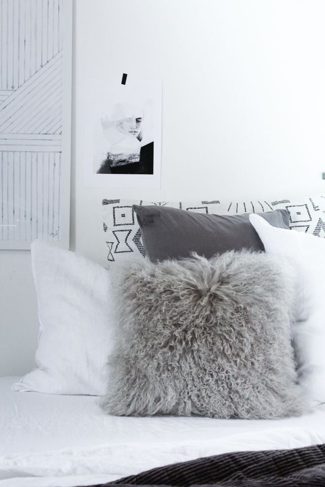 My home - bedroom tour - cosy Autumn cushions. My Scandinavian Home blog.