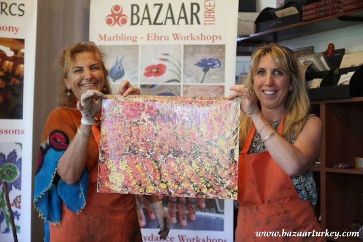 Marbling Ebru Workshops on Paper in Sultanahmet - Istanbul with our guests from Usa - July 2016 http://www.bazaarturkey.com/tours/turkish_marbling_lesson.html