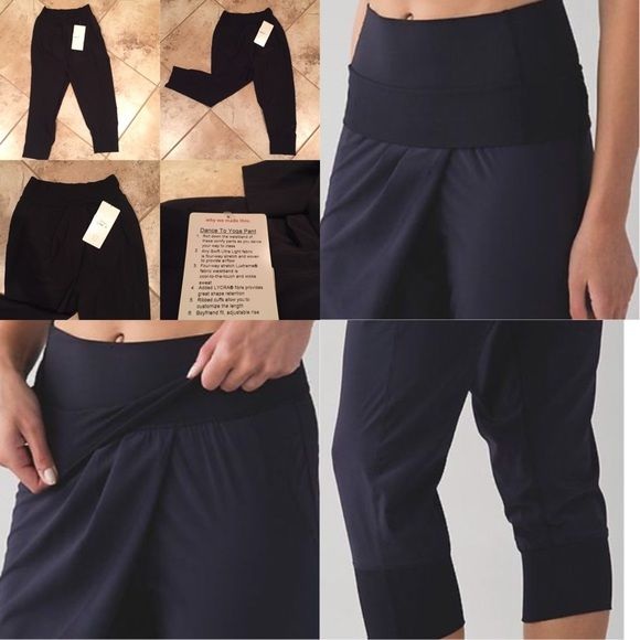 FINAL PRICE DROP! ALL LULULEMON  PANTS $65 NEW LULULEMON DANCE TO YOGA PANT -Roll down waistband -Ribbed cuffs allow you to customize the length  -Boyfriend fit -Adjustable rise ❌NO OFFERS  ❌NO TRADES  SHIPS TOMORROW lululemon athletica Pants