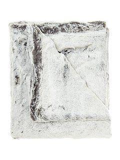 Grey faux fur throw