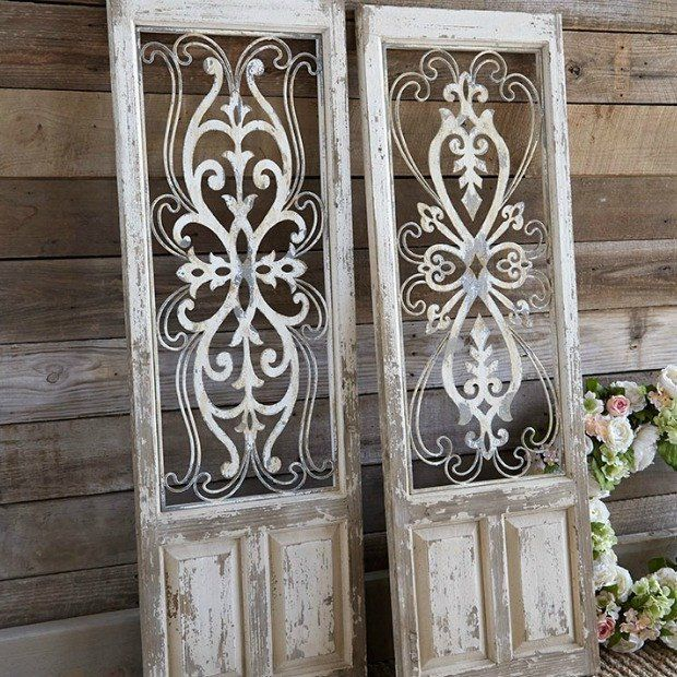 Distressed Wood And Metal Wall Panels Set Of 2 Metal Wall Panel Rustic Doors Farmhouse Decor