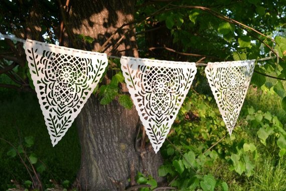 Laser cut lace satin bunting by comeuppance on Etsy,