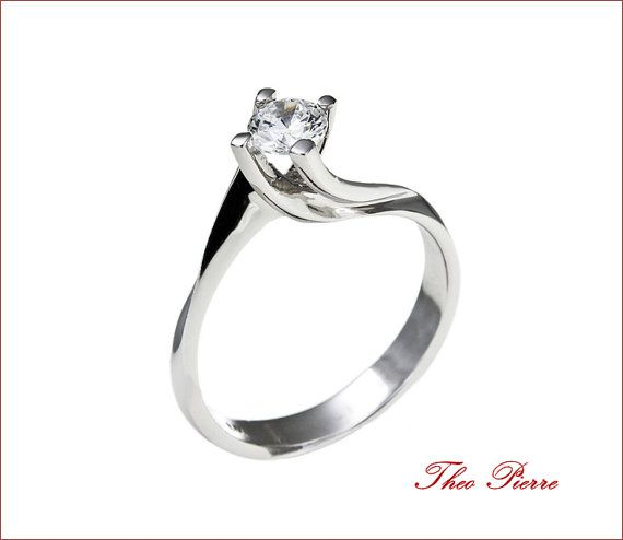 Solitaire Engagement Ring - Modern Ring - Diamond ring