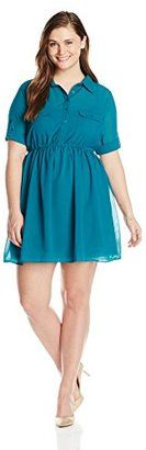 She's Cool Junior's Plus-Size Button Down Shirt Dress - Shop for women's Shirt - Jade Shirt