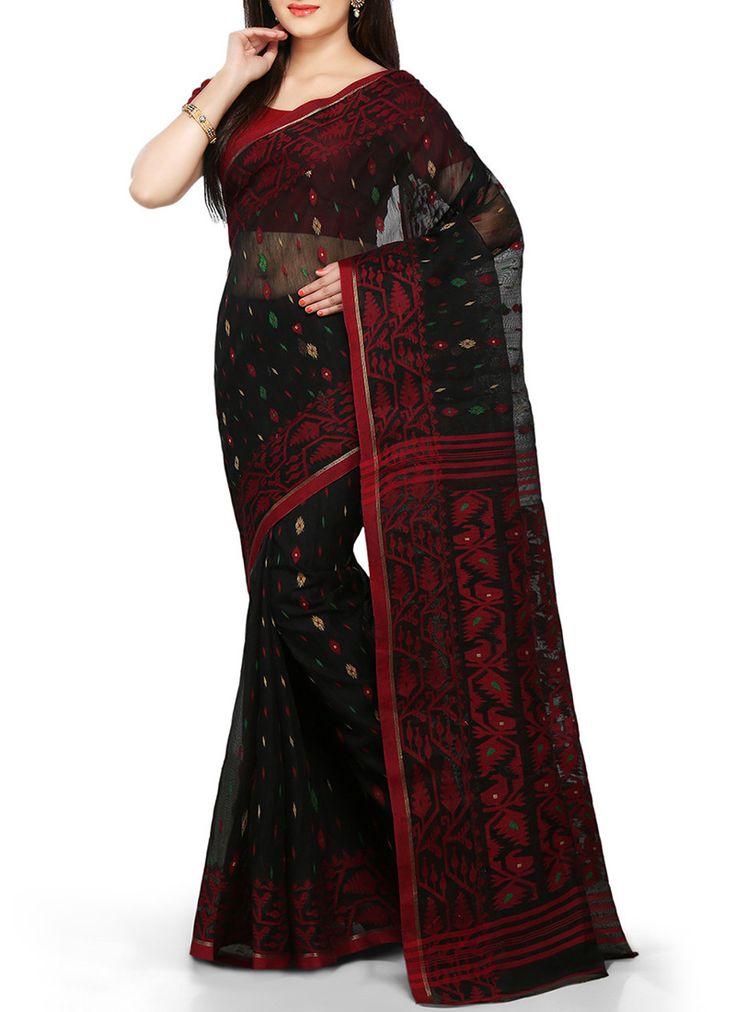Silk Cotton Black Jamdani Bengal Handloom Saree