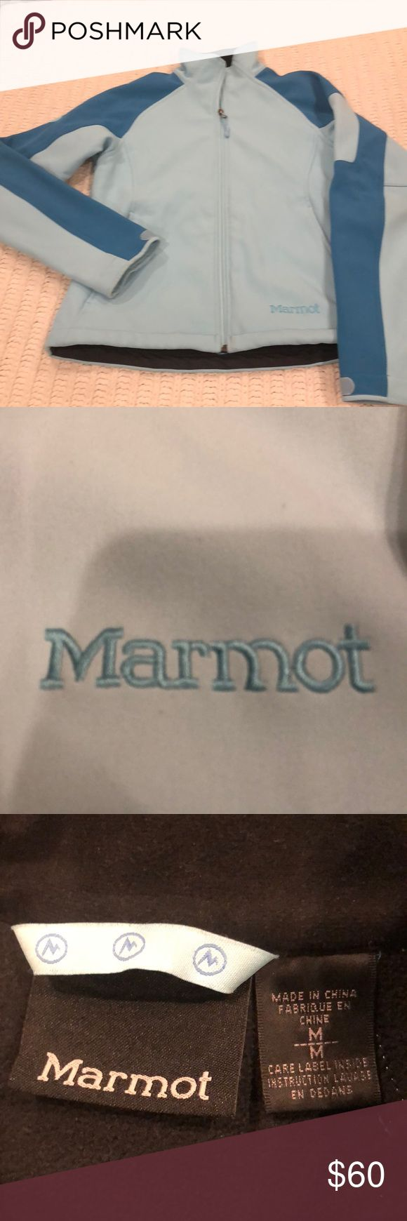 Marmot water resistant coat jacket medium near new Marmot wind and water resistant jacket sadly too small for me light turquoise blue and a turquoise blue size women's medium Marmot Jackets & Coats