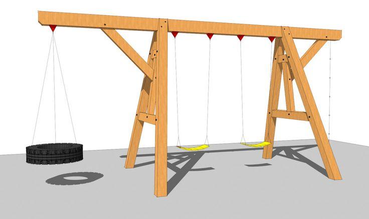 1635 best playground images on pinterest children for Wooden swing set with bridge