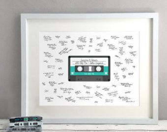 Mix Tape Wedding Guest Book Alternative, Retro Wedding Song Art, Unique Wedding Guestbook Ideas, Cassette, Personalised Print (unframed)