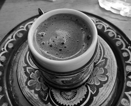 23. After the jewelry shop a man called us to his coffee shop. We went in he said he had the best coffee in Constantinople so we tried it. Turkish coffee is very rich in flavour.