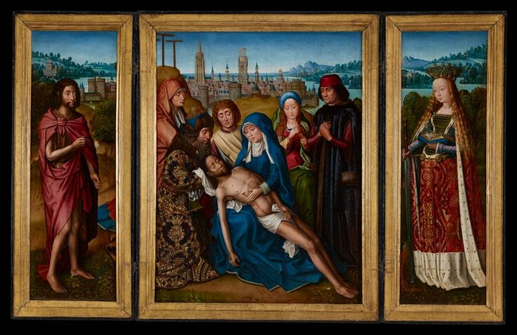 Lamentation with Saint John the Baptist and Saint Catherine of Alexandria // 1493–1501 // Master of the Legend of Saint Lucy // Minneapolis Institute of Art