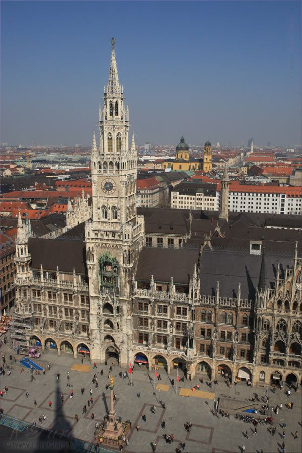 View from Alter Peter/ St. Peter - Marienplatz, Rathaus, Theatinerkirche - Munich/ München, Germany/Deutschland