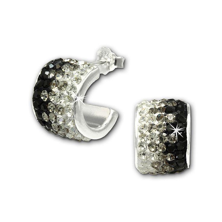 Cercei SilberDream argint creole cu zirconii albe negre