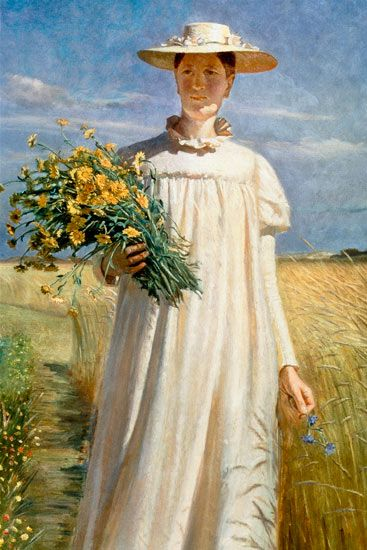 Anna Ancher Returning from Flower Picking by Michael Peter Ancher *Birthday 9 June (1849)* http://en.wikipedia.org/wiki/Michael_Peter_Ancher