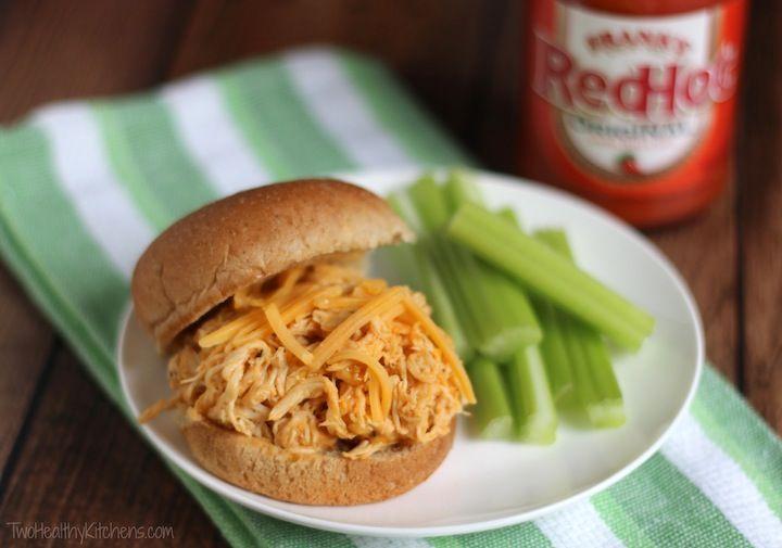 Healthy Crock-Pot Buffalo Chicken Sandwiches Recipe | www.TwoHealthyKitchens.com