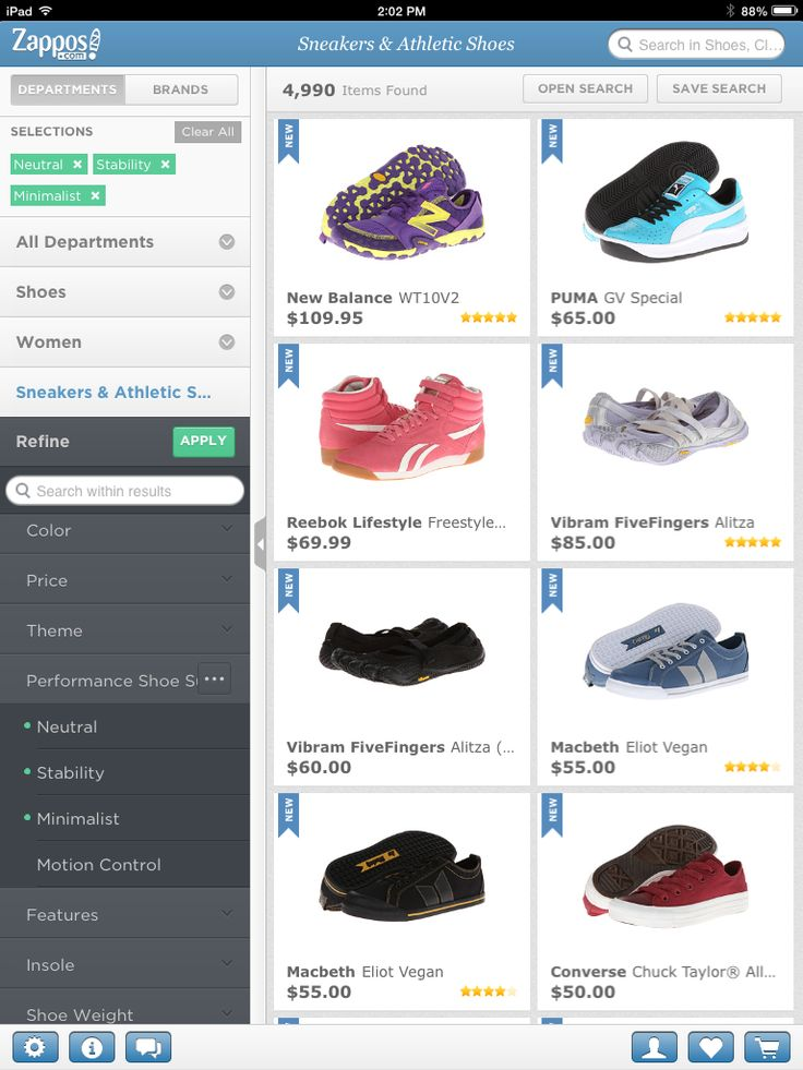 Zappos Ipad App Filter Design selecting Filter design