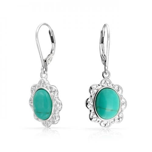 Bling Jewelry Oval Turquoise Leverback Earrings Antique 925 Silver Filigree