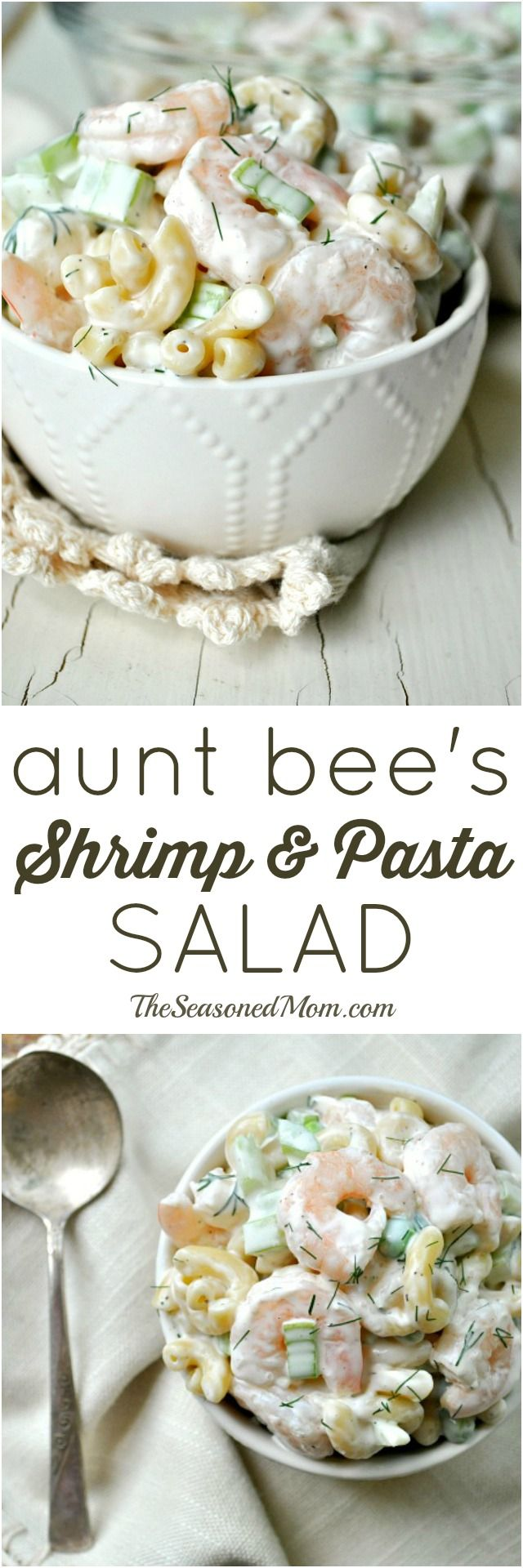 Full of simple and fresh ingredients, Aunt Bee's Shrimp and Pasta Salad has been a family-favorite for decades! It's the perfect side dish for your next cookout, an easy option for a weeknight dinner, or a refreshing make-ahead lunch option.