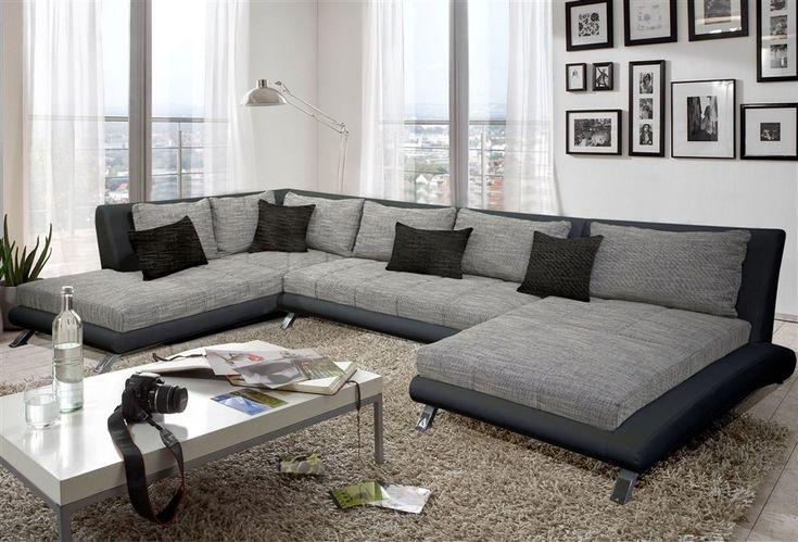 Canap d 39 angle design luberon en pu et tissu coloris noir et gris canap - Canape d angle original ...