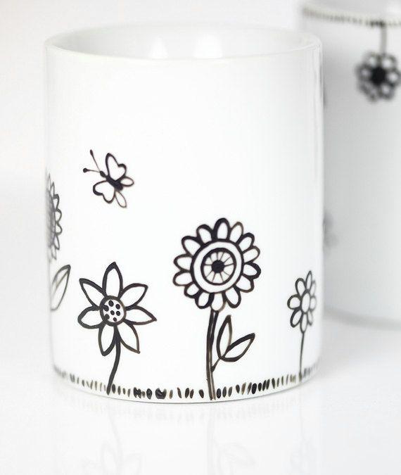 Hand Painted Ceramic Mugs White Porcelain Coffee Mugs Tea Mugs Black Minimalist Abstract Modern Flower Kitchen Decor - Set of 2 Ceramic Mugs. $45.00, via Etsy.
