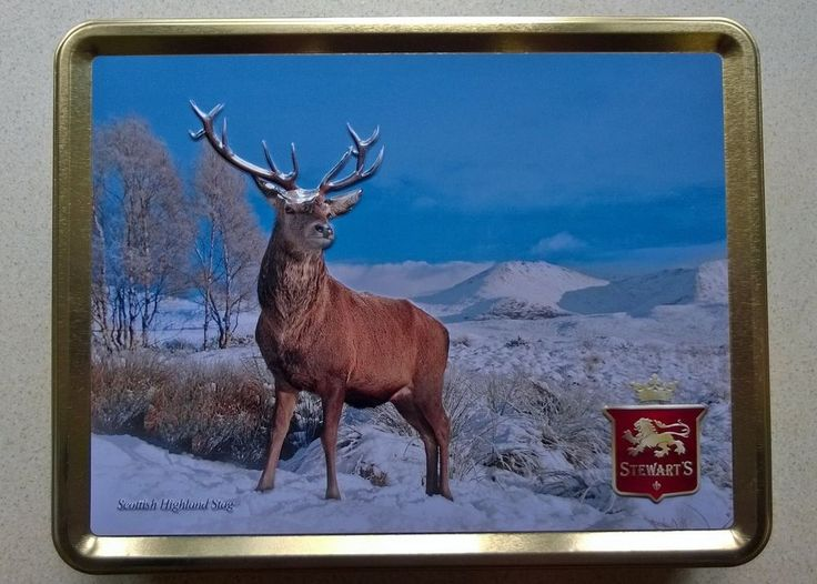 EMBOSSED SCOTTISH HIGHLAND STAG IN THE SNOW. STEWART S BISCUITS