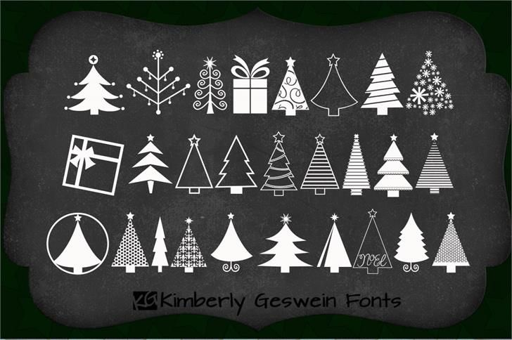 KGChristmasTrees font by Kimberly Geswein - download this free dingbat font at FontSpace.