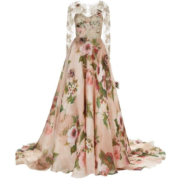 Marchesa Rose Print Lace Gown ($11,550) ❤ liked on Polyvore featuring dresses, gowns, floral evening gown, lace cocktail dress, white lace maxi skirt, floral evening dresses and white evening dresses
