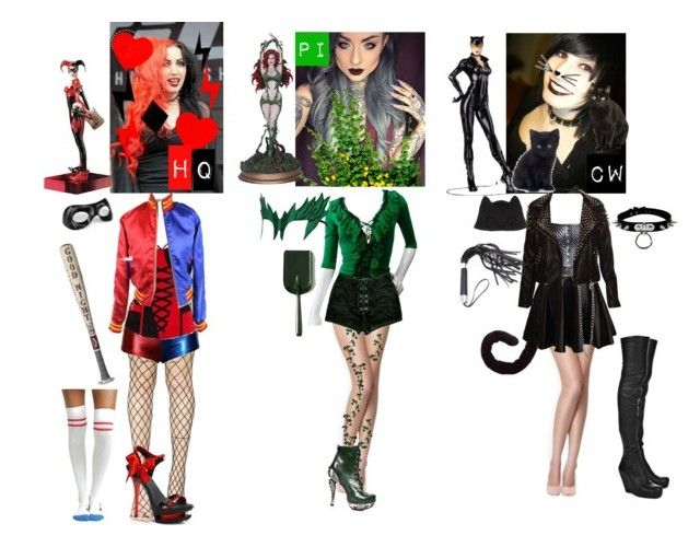 """""""The girls are back in Gotham city, be ready"""" by cittymotionless ❤ liked on Polyvore featuring Leg Avenue, DC Comics, Roberto Cavalli, Zana Bayne, Rick Owens, Masquerade and Silver Spoon Attire"""