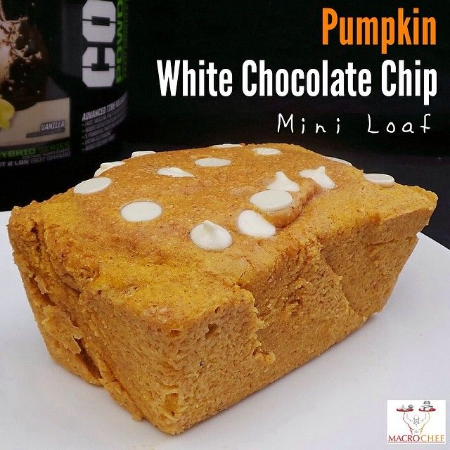 Single serve pumpkin white chocolate chip mini loaf: 1/2 cup (60g) whole wheat flour - 1 scoop (33g) @lala land vanilla protein powder - 1/2 cup (122g) canned pumpkin - 1 whole egg - 2 tbsp milk or water - 1/2 tbsp stevia - 1/4 tsp pumpkin pie spice - 1 tsp baking powder - 1/2 tbsp white chocolate chips 1: Blend all ingredients except for chocolate chips. Spray a mini loaf pan. Microwave for 1:30 to keep it a little gooey and  moist. Macros for whole loaf: C440|P40|C55|F11 and 9 fiber