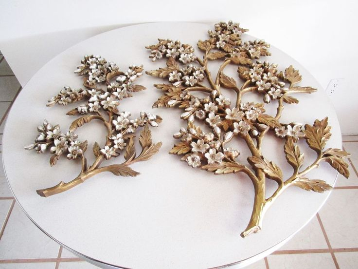 Vtg mid century hollywood regency syroco wall decor flower for Hollywood regency wall decor